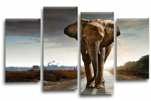 Sunset African Elephant Grey Black Canvas Wall Art Picture Print